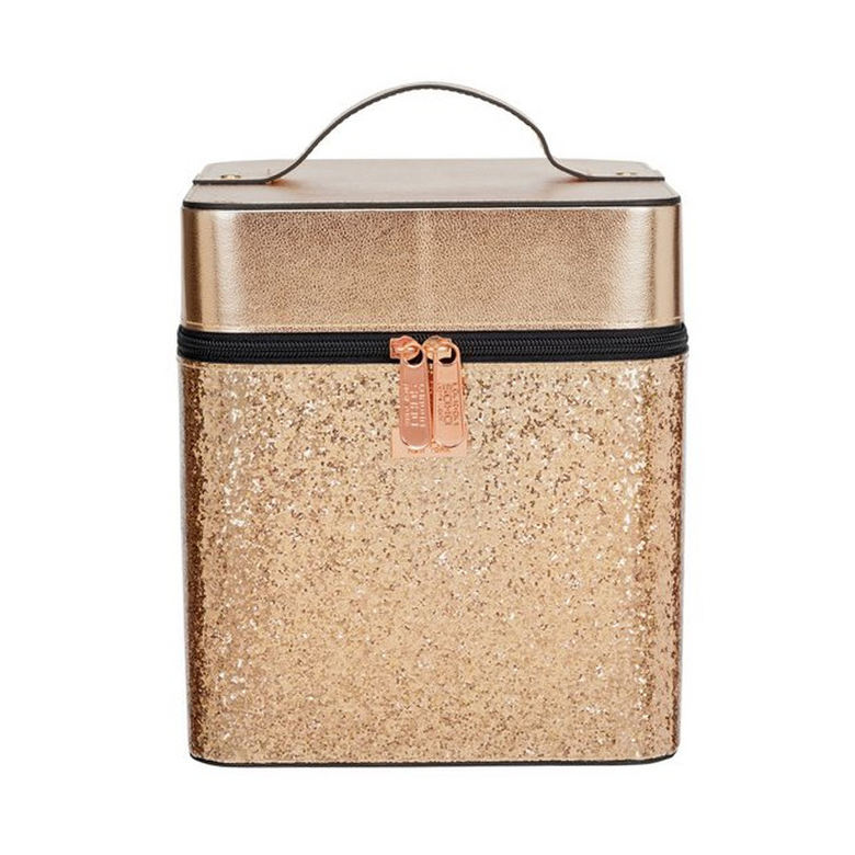 Hot selling double zipper rose gold glitter cosmetic vanity case makeup case cosmetic box