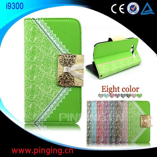 hot vente sac à main de cas de téléphone en gros portefeuille flip housse en cuir pour samsung galaxy s3 i9300