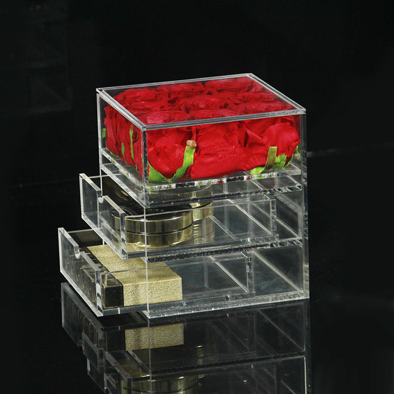 Wholesale clear 9 holes plexiglass flowers box acrylic rose box with 2 drawers