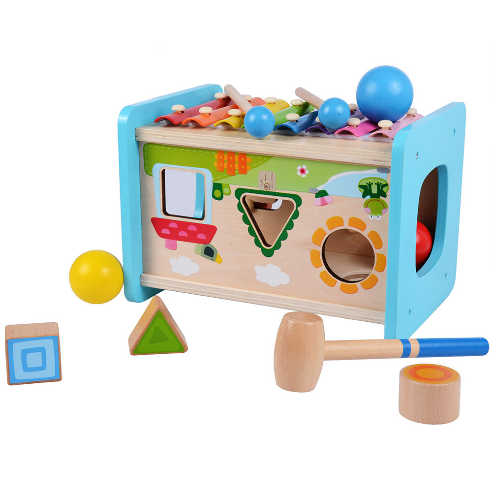 Music Wooden Piano pounding bench toy Geometry Multi function Early Childhood Education Box Educational Toys for Children