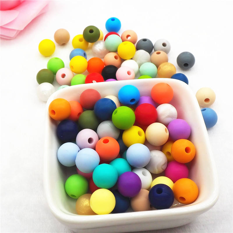 Wholesale Factory price Food Grade BPA Free Soft nature rubber gel 9mm Silicone Baby teething beads for jewelry