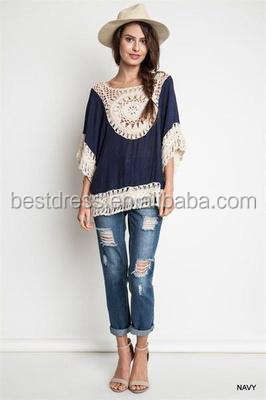 Women Blouses Oversized Lace Crochet Knitted Boho Tunic Plus Size Shirt Tops