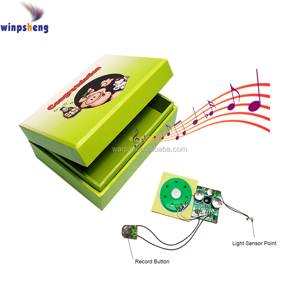 Light sensor sound module for greeting card music box