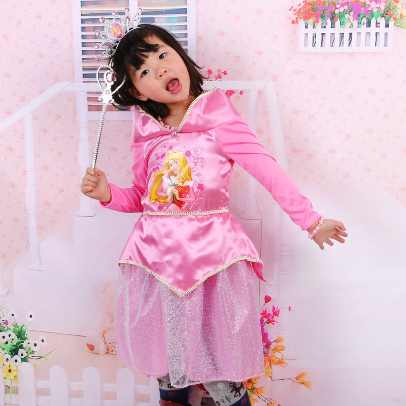 2016 new styles girl sleeping beauty dresses pink lace short sleeve kids cosplay costume