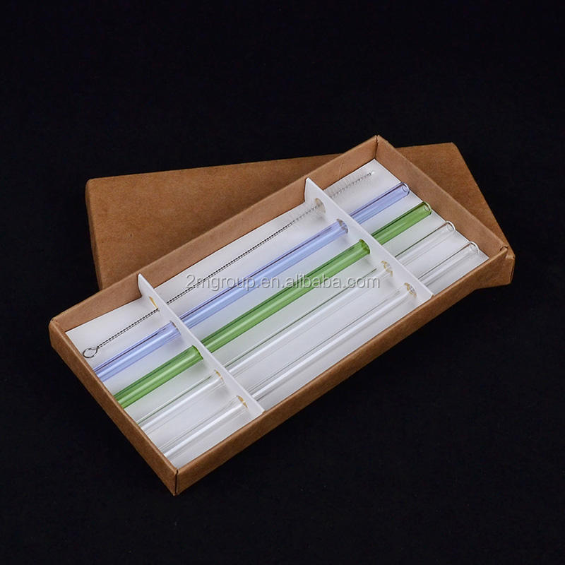 beautiful box set glass drinking straw with brush