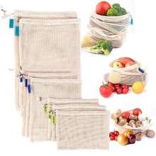 Premium Reusable Produce Shopping Bag 10 Piece Set Organic Cotton Muslin Mesh for Shopping Produce Fruit Vegetable