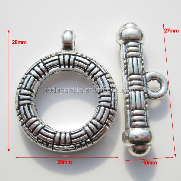 Antique Silver Colour Zinc alloy findings for bracelet stainless steel clasp