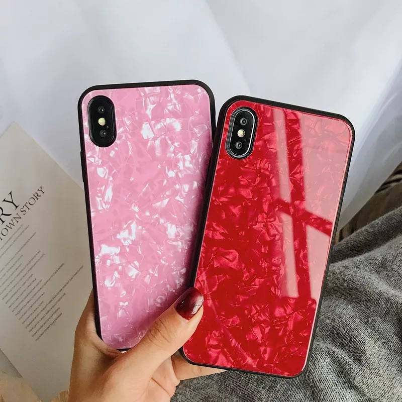 Sea shell design Anti-fall protection Colorful Shining Girl women Case for iphone Xs max glass case