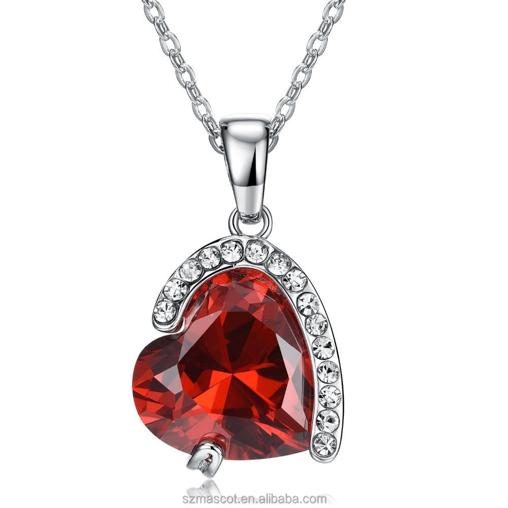 Ruby Color Heart Shape Love Women Crystal Pendant