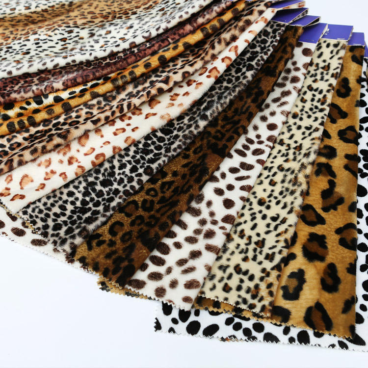 100% polyester animal printing fabric/animal skin design printed velvet