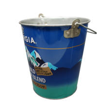 Customized black ice bucket double wall tin pail