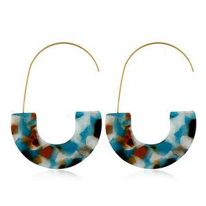Small Order Western Style Fashion Resin U Earrings Geometric Leopard Acrylic Statement Earrings Hook Jewelry For Women Wholesale