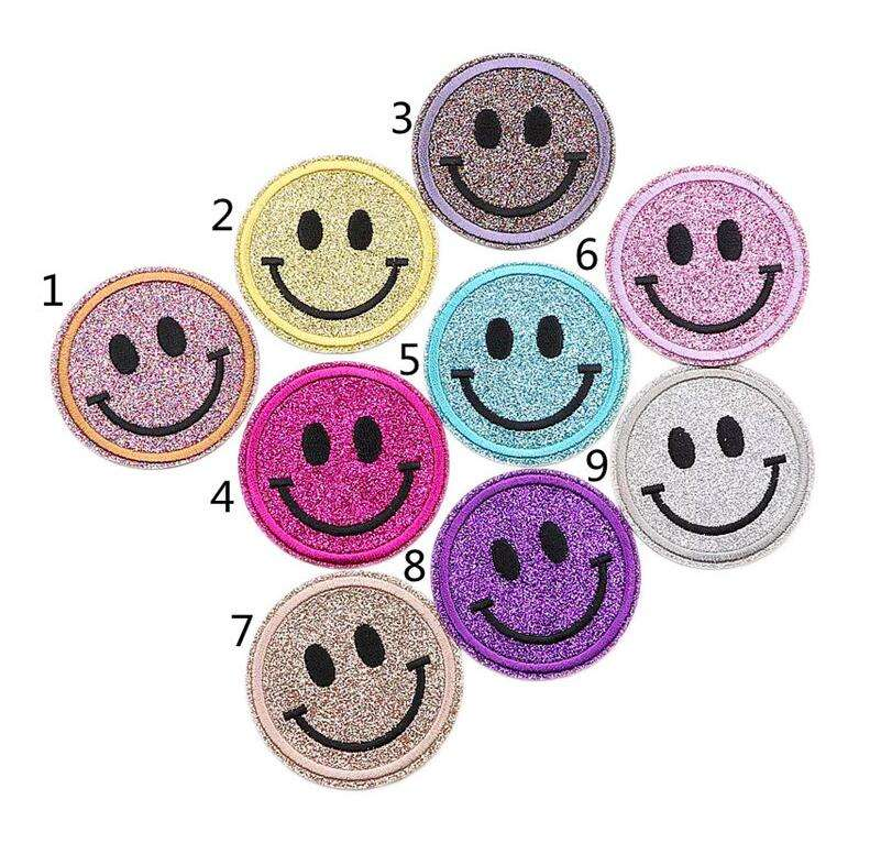 Mixed Color DIY Embroidery Patch Circle Cartoon Stickers Smile Patch