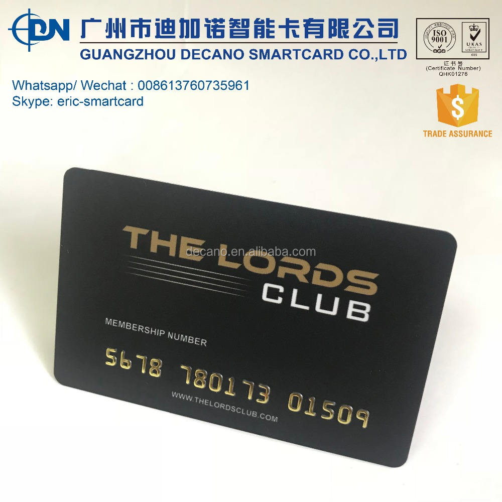 Plastic Club membership card with gold embossing card number