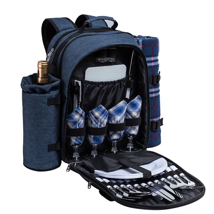 4 Person Picnic Backpack bag With Cooler Compartment Wine Travel Bag and Picnic Set