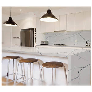Cheap Prices Encimera Calacatta White Custom I shape Artificial Quartz Granite Epoxy Resin Peninsula Kitchen Countertop