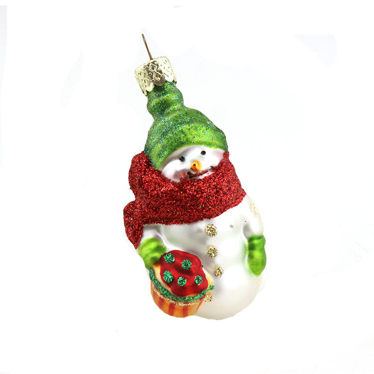 Artdargon ready to ship Traditional Collection Happy Glass Blown Ornaments Snowman Christmas with A wish