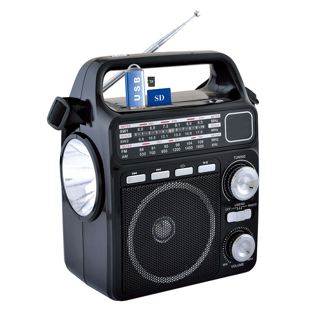 FP-1362ULS Portable Strong Radio Super Bass Solar Powered Radio with Flashlight