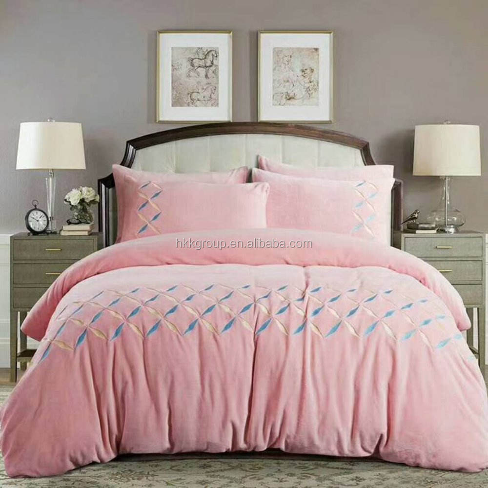 Baby velvet Embroidery comfortable and Beautiful Duvet set/comforter set