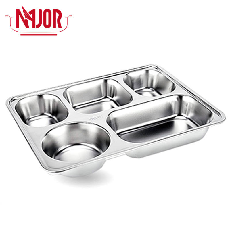 201 Stainless Steel 5 Compartments(4 Rectangle + 1 Round) Rectangle Deepen Dinner Divided Plates/Tray with Lid