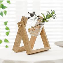 Nordic style home desktop decoration  glass planter glass vase with metal stand/wood stand base