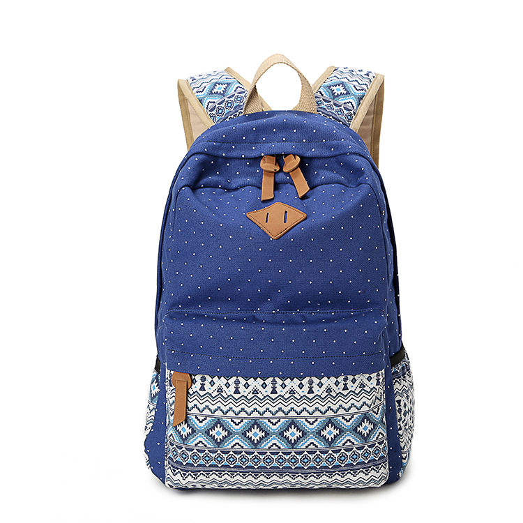 Customized Lightweight Durable Canvas Casual School Backpacks For Teen Girls