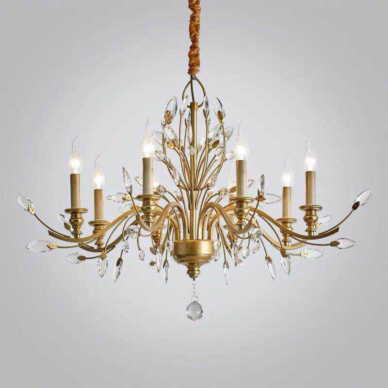 Vintage iron crystal chandelier gold branch crystal chandelier For living room brass hanging lamp