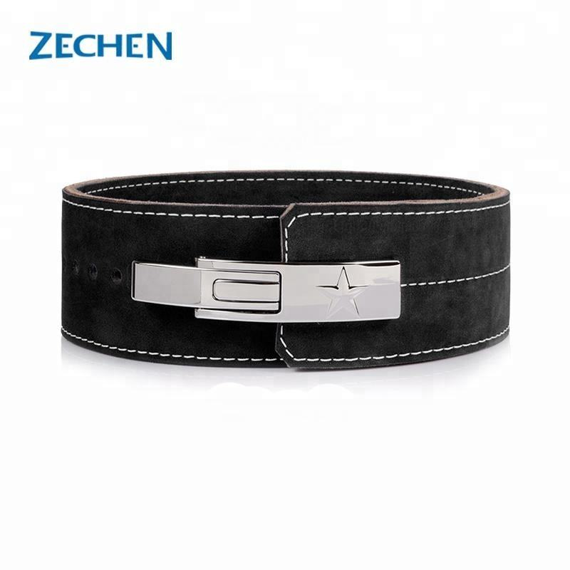 Custom back support Gym Leather Powerlifting lever belt weight lifting belts buckles