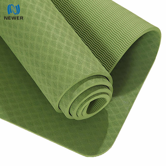 Stock eco-friendly anti-slip breathable fitness exercise waterproof foldable personalized 6mm oversized thick roll tpe yoga mat