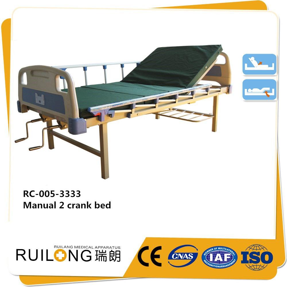 Buona qualità a buon mercato abs bedhead manuale 2 manovella letti ospedalieri