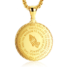 Fashion Stainless Steel Women Yellow Gold blessed Round Disc Necklace