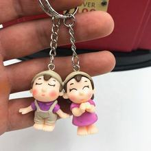 custom plastic couple key ring/cartoon creative human key ring for lovers/make your original design key ring factory