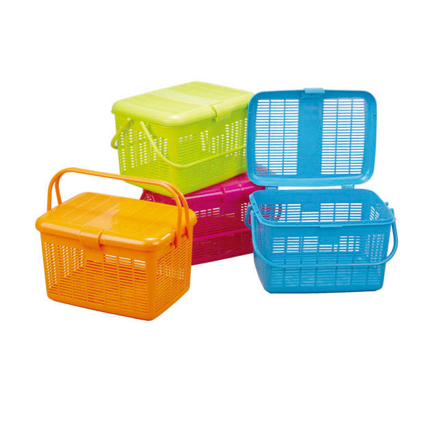 Animal Carry Plastic Picnic Basket With Handle And Lid