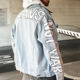 Sleeve Jacket OEM Men Long Sleeve Print Denim Jacket