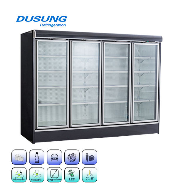 Glass door four door commercial refrigeration display refrigerator for fruit vegetables and drink