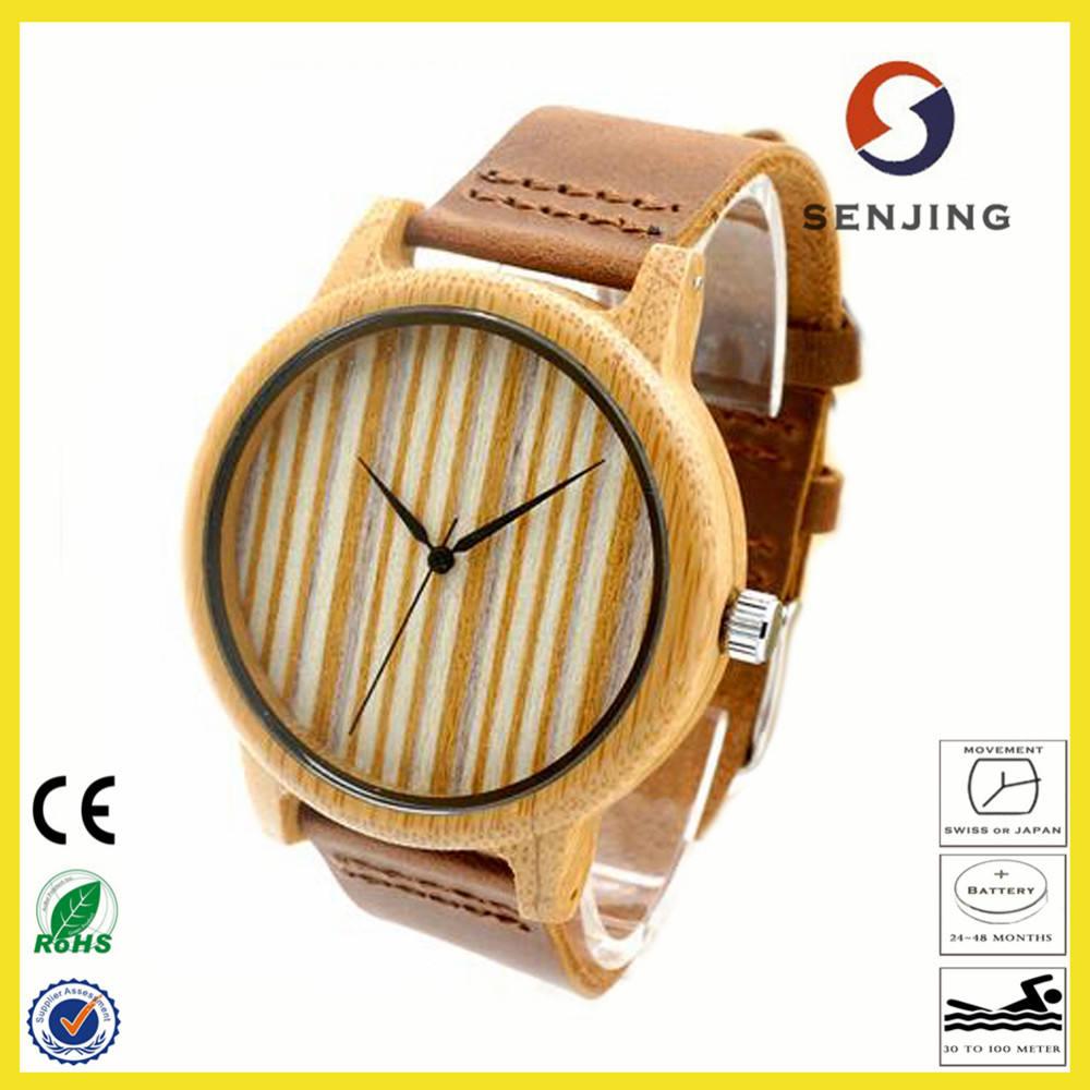 2017 hecho a mano respetuoso del medio ambiente clásico Bobo pájaro de madera de bambú reloj personalizado reloj de cuarzo para