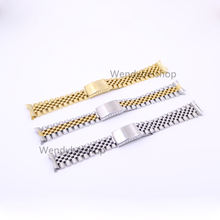CARLYWET 19 20 22mm Gold Two tone Hollow Curved End Solid Screw Links Replacement Watch Band Strap Old Style Jubilee Bracelet
