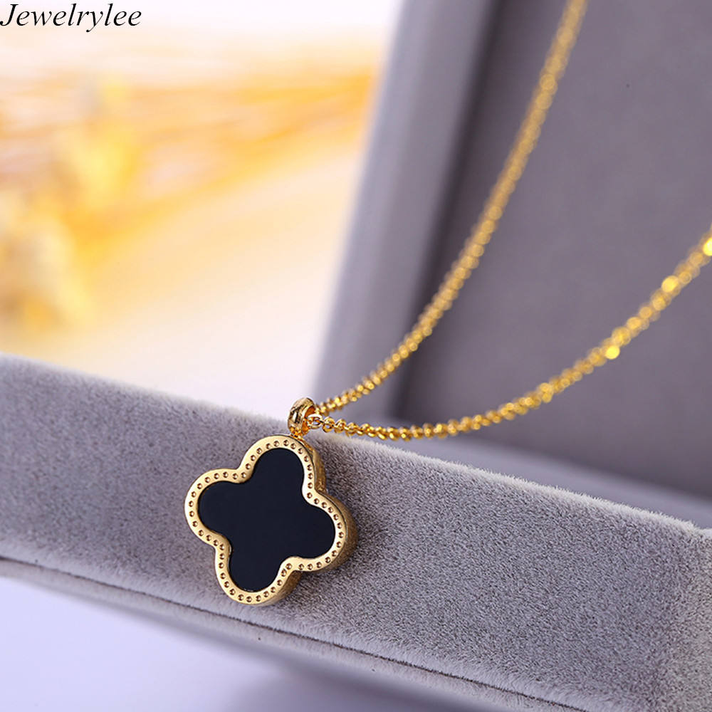 Best Selling Stainless Steel Pendant Shell Four-leaf Cover Necklace Gold