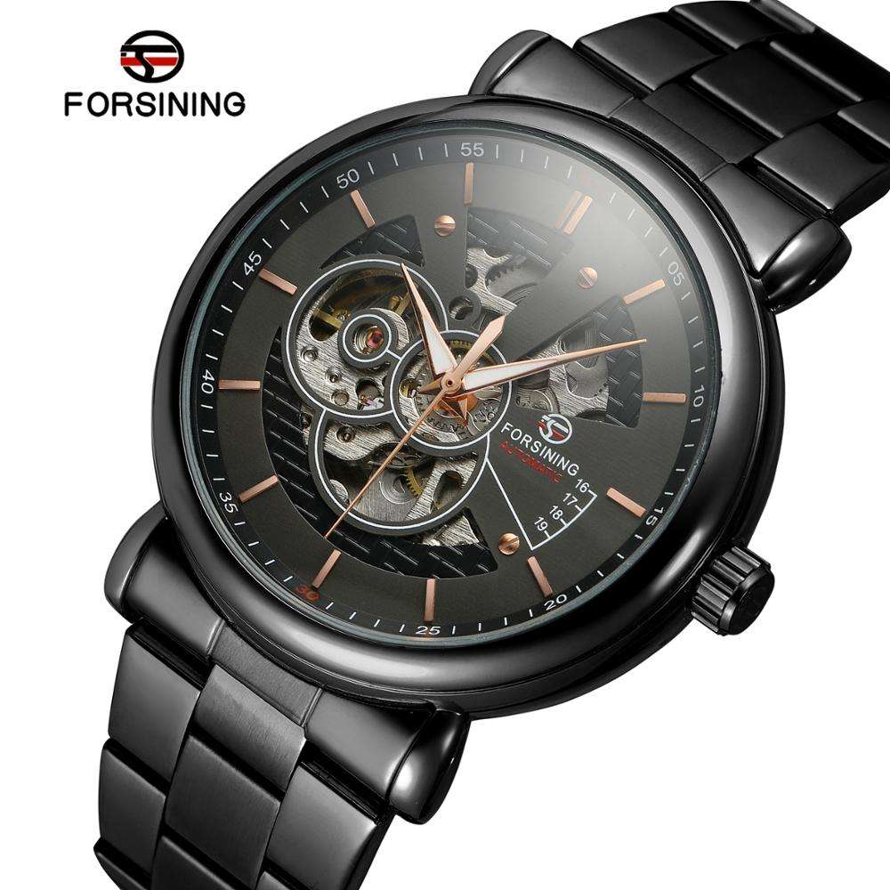 Forsining automatic skeleton watch best stainless steel watches for men watch custom logo