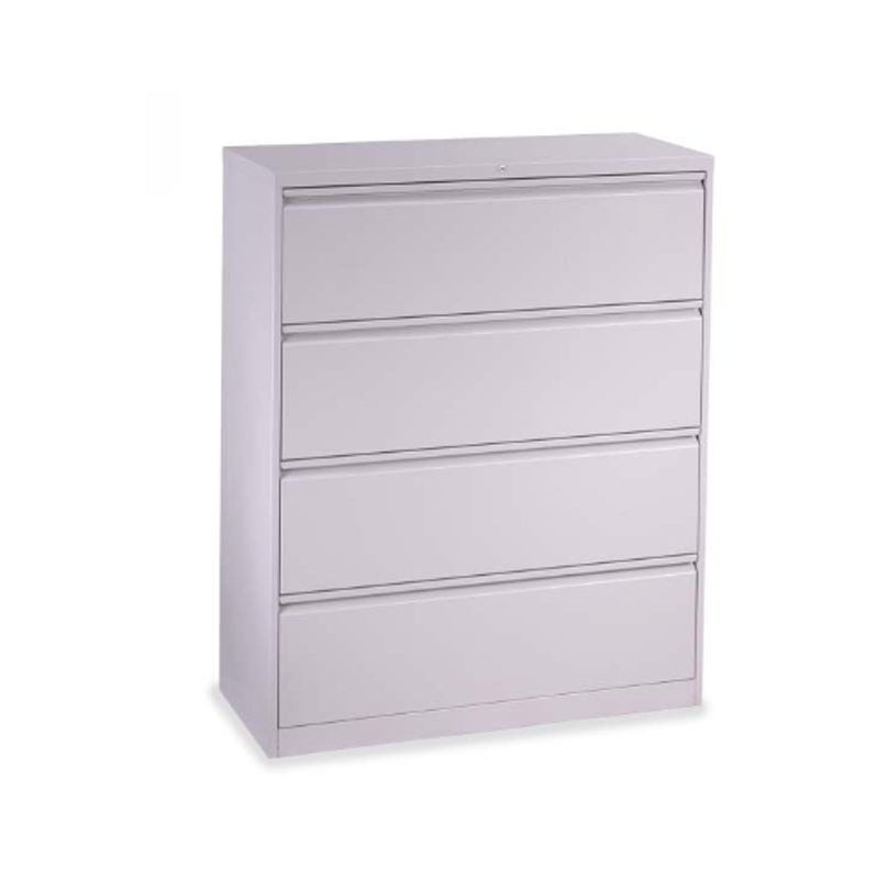Hanging files drawer white 4 layers lateral filing cabinet with central locking system