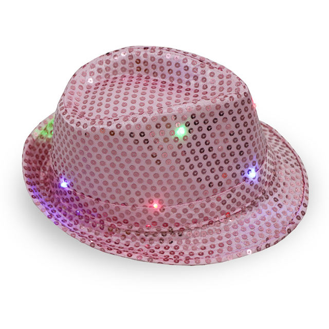 Wholesale shiny sequins cowboy party stage led glow formal hats