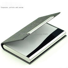 Large affordable business card book/name card holder shining metal leather business card case