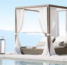 Crafted double indian bed designs of rattan furniture sun lounger with canopy