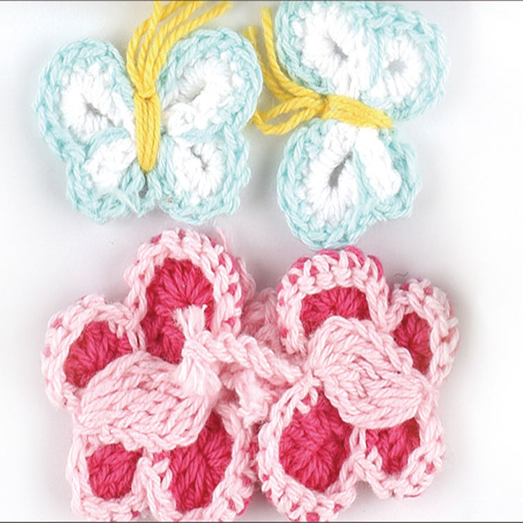 Wholesale DIY Handmade Knitted Butterfly Crochet Butterfly Flower Accessories
