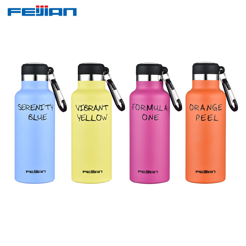 Feijian 500Ml Rvs Thermos Water Bottle Vacuümfles Met Karabijnhaak Bpa Gratis Outdoor Sport Wandelen