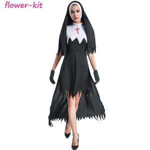 Frete Grátis Plus Size New Sexy Impertinente Nun Costume Ladies Fancy Dress Halloween Costume