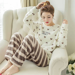 Fashion Good Quality Winter Warm Flannel Sleepwear Ladies Long Sleeves Nightclothes Coral Fleece Girls Casual Home Pajamas