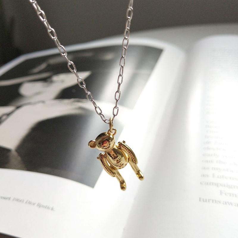 Factory Price S925 Sterling Silver Fashion Cute Sweet Gold Toy Bear Pendants Necklace Fine Jewelry for Girl
