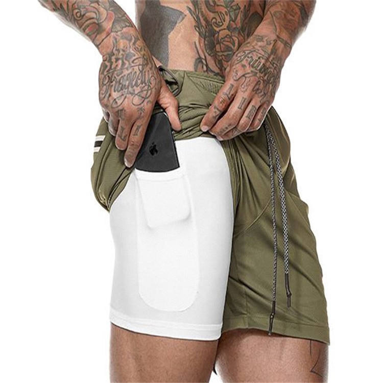 Men's Workout Running 2 in 1 Double - Deck Training Gym Shorts with Pockets