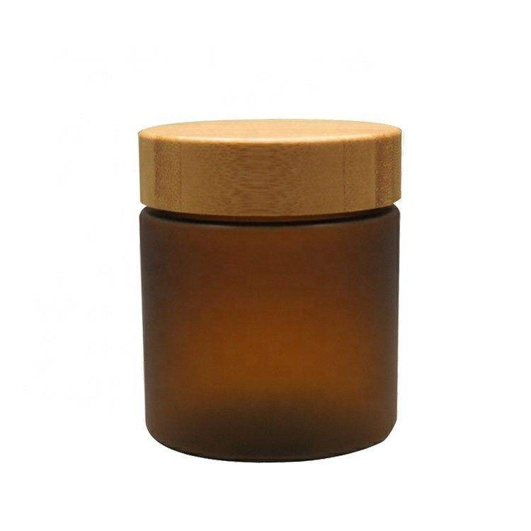 Natural Amber Glass Cream Jar Cosmetic Jars,Pet Cosmetic Jar Amber Bamboo Wood Lid